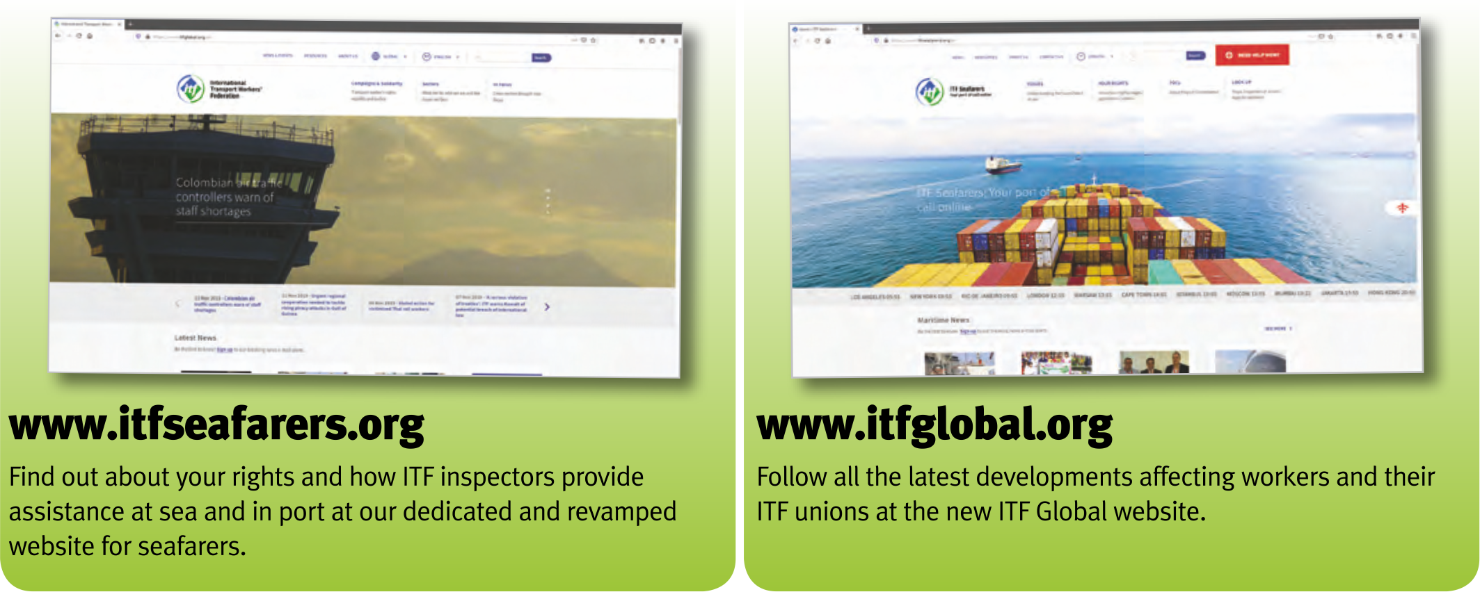 Seafarers - make the ITF your daily port of call for information and advice